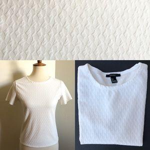 Forever 21 Plain White Textured Short Sleeve Top